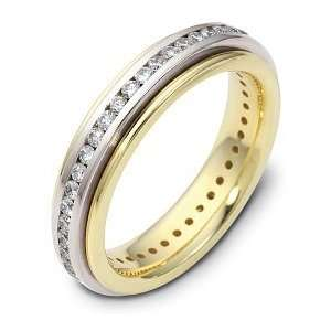 18 Karat Two Tone Gold SPINNING Diamond Eternity Band Ring   6.25