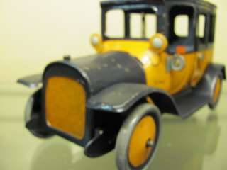 VINTAGE ANTIQUE TIN TOY WIND UP CAR YELLOW TAXI CAB LEHMANN BING CIRCA