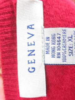 GENEVA Red Cashmere Long Sleeve Crew Neck Sweater Sz XL