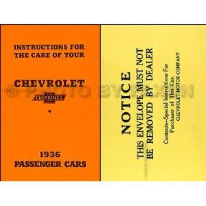 1936 Chevrolet Car Reprint Owners Manual Package