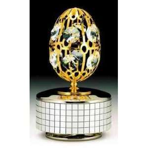 Egg Silver Gold Plated Swarovski Crystal Music Box