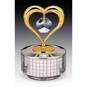Heart Silver Gold Plated Swarovski Crystal Music Box