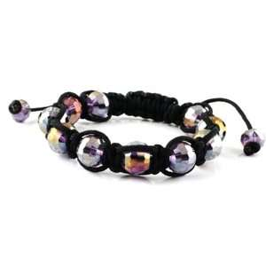 Macrame   Stone Bead Bracelet   Black String Light Purple