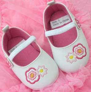 White pink kids toddler baby girl Mary Jane shoes size 3