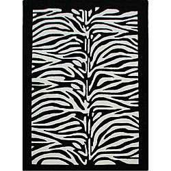 Hand tufted Alexa Pino Collection Zebra Kids Black Rug (5 x 8