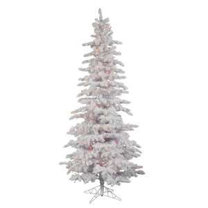 7.5 Flocked White Slim Christmas Tree w/ 1019T & Snow 400