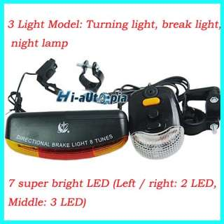 Bicycle Bike Cycling 7 LED Turn Signal Brake Light Lamp Horn