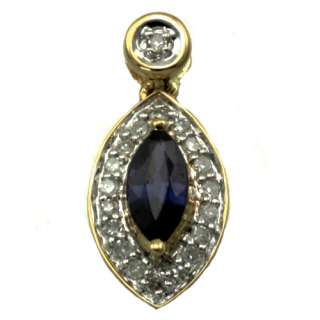 14k yellow gold marquise blue sapphire diamond pendant