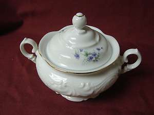 Royal Kent, China Dinnerware Purple Violets, Poland, Sugar Bowl