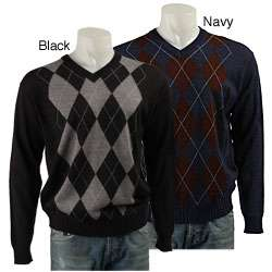Visitor Poeta Moda Mens Argyle V neck Sweater