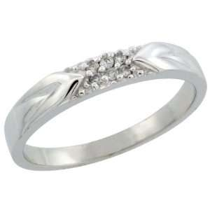 Gold Mens Diamond Ring Band w/ 0.06 Carat Brilliant Cut Diamonds