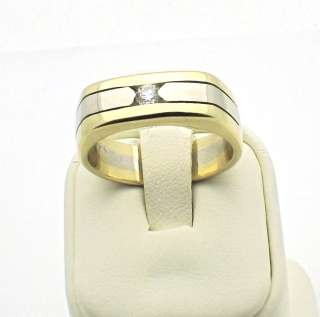 and Yellow Gold Diamond Mens Ring Band 12.2 grams size 10