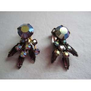 Vintage Aurora Borealis Rhinestone Metal Clip On Earrings
