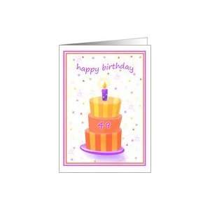 49 Years Old Happy Birthday Stacked Cake Lit Candle Card