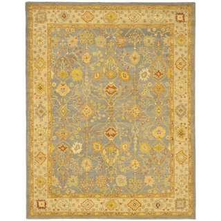 Hand tufted Oushak Blue/Ivory Wool Carpet Rug 8 x 11