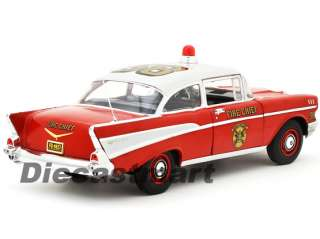 HIGHWAY 61 118 1957 CHEVY BEL AIR SEDAN FIRE CHIEF NEW DIECAST MODEL
