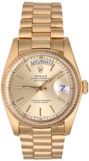 Rolex President Day Date Mens 18k Gold Watch 18038