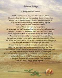 Rainbow Bridge Loss Of Pet Memorial Personalized Poem