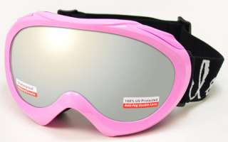 Snow Goggles Winter Ski Boarding Youth Kids Pink White Polycarbonate
