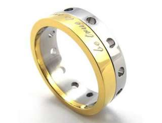 STAINLESS STEEL GOLD BLACK MANS BOYS RING FREE SHIPPIING 7MM WIDE