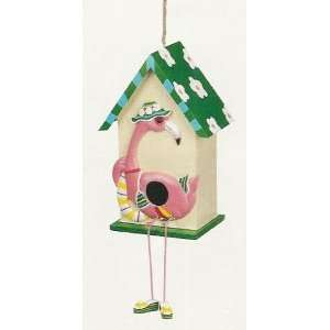 FLAMINGO Green BIRD HOUSE birdhouse garden decor
