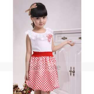 Fashion Baby Girls Polka Dots Princess Falbala Sleeveless Kids Summer