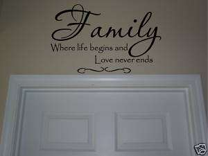 FAMILY where life begins,love never ends vinyl letter