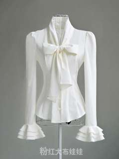 NEW Noble Luxury Victorian Women Slim Cocktail Shirt Bow Blouse S/M/L