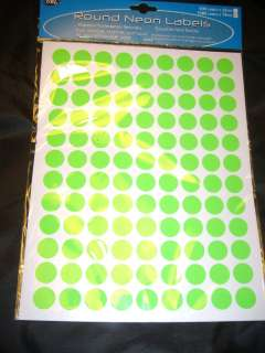 1080 LARGE NEON STICKY DOTS PRICE ROUND LABELS STICKERS SELF ADHESIVE