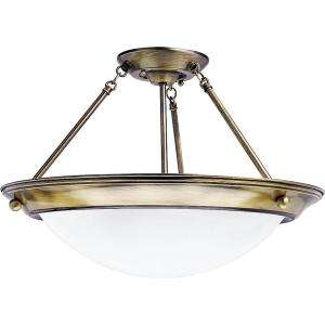 Lighting Eclipse Collection Antique Brass 2 light Semi flushmount