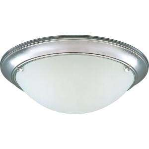 Progress Lighting Eclipse Collection Brushed Steel 3 Light Flushmount