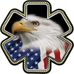 Star of Life EMT EMS American Flag Eagle Decal FF112