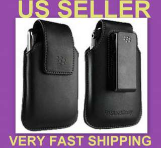 NEW OEM BLACKBERRY BLACK LEATHER CASE PHONE POUCH SWIVEL HOLSTER for