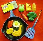 NEW TOY FRYING PAN & 10 PC FOOD FUN COOKING PLAY SET B