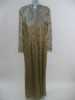 You are bidding on a DESIGNER Gold Lace Silk Evening Gown Dress. This