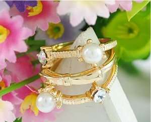New Fashion Jewelry Womens Pearl Bowknot Three piece Ring Gold