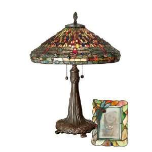 Dale Tiffany Antique Bronze Paint Dragonfly Table Lamp and