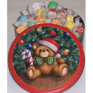 Scotts Cakes Assorted Salt Water Taffy in a Christmas Teddy Bear Tin