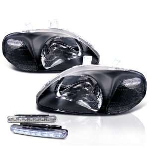 Civic Black Crystal Head Lights + LED Bumper Fog Lamp Set Automotive