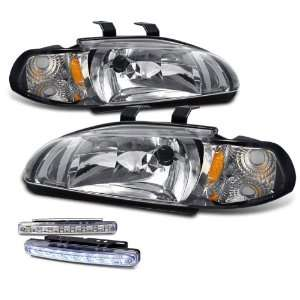 Door 2in1 Chrome Head Lights+led Bumper Fog Lamps Pair Set Automotive