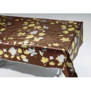 Fall Leaf Chocolate Metallic Banquet Table Cover 54 x 108