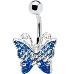 Swarovski Blue Gem Butterfly Belly Ring Jewelry