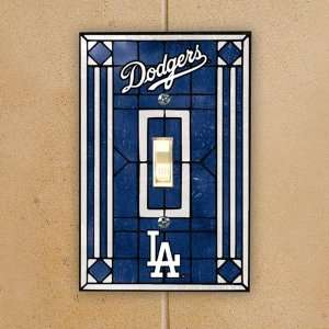 MLB L.A. Dodgers Royal Blue Art Glass Switch Plate Cover