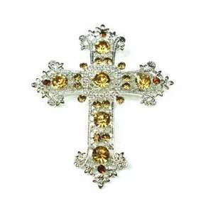 Yellow Austrian Rhinestone Cross Silver Tone Brooch Pin Jewelry