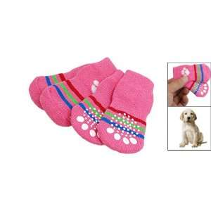Knitted Pet Dog Puppy Pink Warm Socks w. Paw Pattern