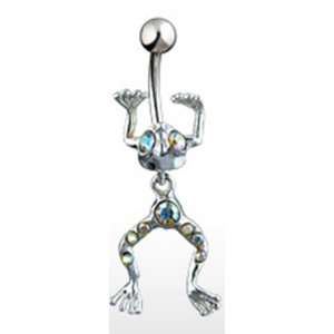 Navel Ring Dangle with Aurora Borealis Gems and Surgical Steel Bar