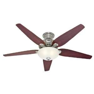 HUNTER HR 21100 60 Ceiling Fan Brushed Nickel With Light Fixture & 5