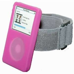 iPod Video Classic Pink Silicon Skin case with armband. iPod