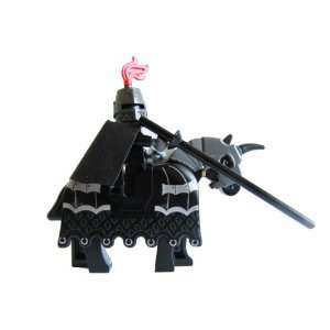 Lego Kingdom Dark Knight Minifigure with Armored Horse