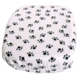 FidoRido fleece cover   white with black paw prints   FidoRido FRFCWB